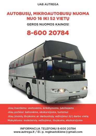 AUTREGA / Keleivių vežimas, autobusų mikroautobusų nuoma